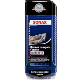 Цветной полироль с воском + карандаш (голубой) NanoPro 0,5л Sonax